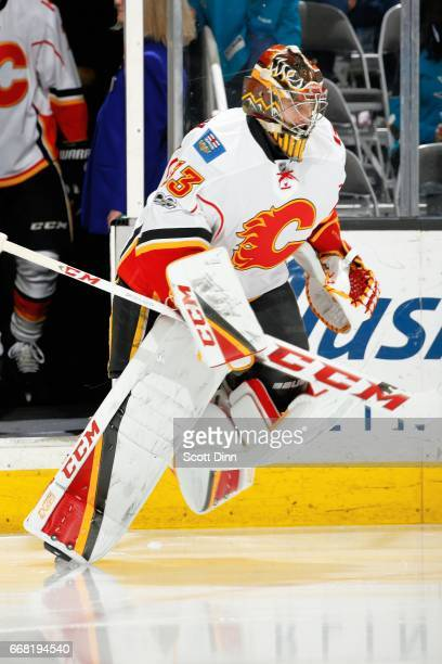David Rittich of the Calgary Flames takes to the ice for his first NHL game during a NHL game against the San Jose Sharks at SAP Center at San Jose...