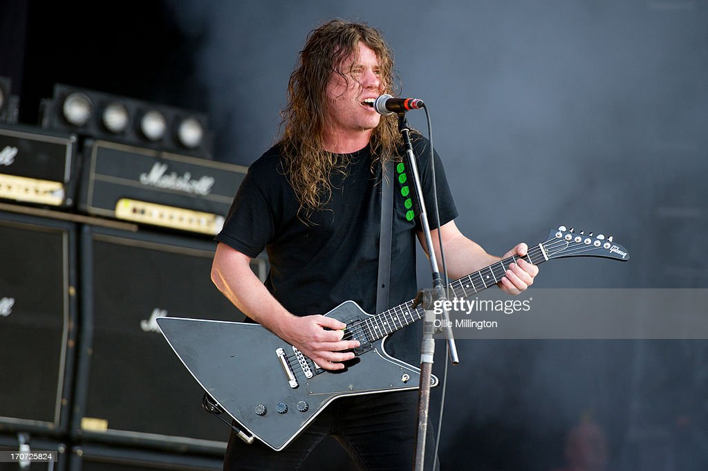 David Roads of Airbourne performs at Day 3 of The Download Festival at Donnington Park on June 16, 2013 in Donnington, England.