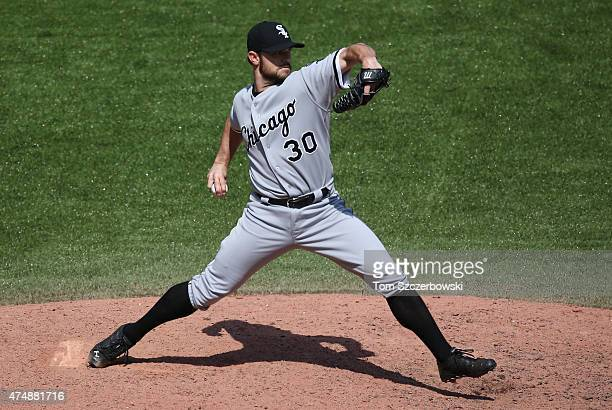 David Robertson of the Chicago White Sox delivers a pitch in the ninth inning during MLB game action against the Toronto Blue Jays on May 27 2015 at...