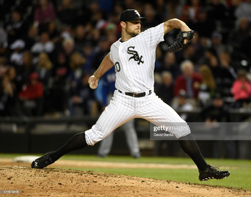 David Robertson #30 of the Chicago White Sox pitches against the Chicago White Sox during the ninth inning on June 19, 2015 at U. S. Cellular Field in Chicago, Illinois. The Rangers defeated the White Sox 2-1.