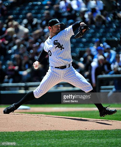 David Robertson of the Chicago White Sox pitches against the Kansas City Royals during the ninth inning on April 26 2015 at U S Cellular Field in...