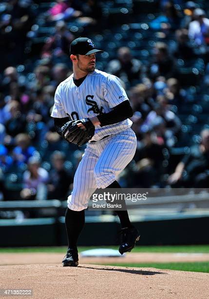 David Robertson of the Chicago White Sox pitches against the Kansas City Royals on April 26 2015 at U S Cellular Field in Chicago Illinois This was a...