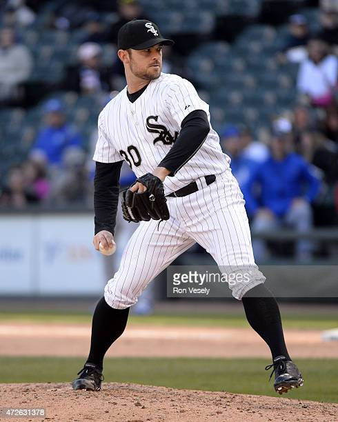 David Robertson of the Chicago White Sox pitches against the Kansas City Royals on April 26 2015 at US Cellular Field in Chicago Illinois Photo by...