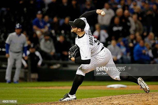 David Robertson of the Chicago White Sox pitches against the Kansas City Royals during the ninth inning at US Cellular Field on September 29 2015 in...