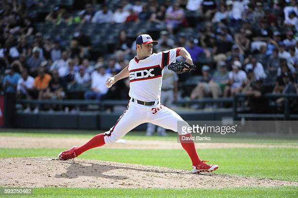 David Robertson of the Chicago White Sox pitches against the Oakland Athletics during the ninth inning on August 21 2016 at Wrigley Field in Chicago...