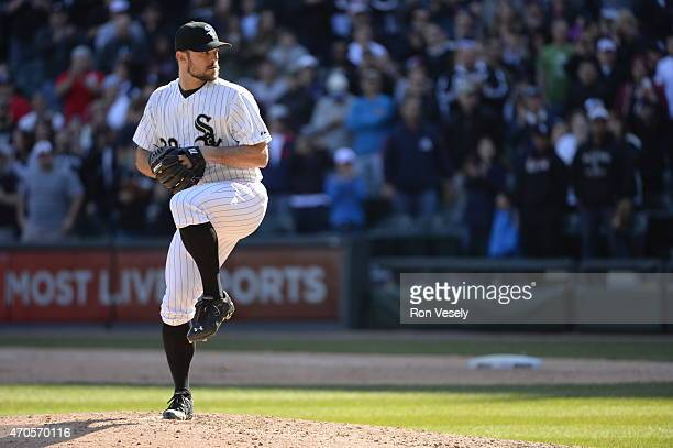 David Robertson of the Chicago White Sox pitches against the Minnesota Twins on April 11 2015 at US Cellular Field in Chicago Illinois