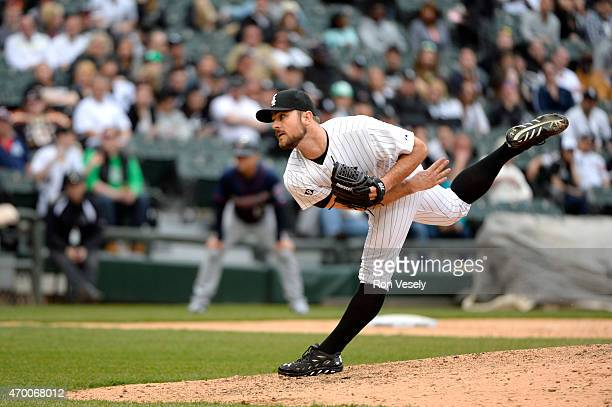 David Robertson of the Chicago White Sox pitches during the game against the Minnesota Twins at US Cellular field on Sunday April 12 2015 in Chicago...