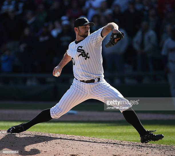 David Robertson of the Chicago White Sox pitches in the 9th inning for a save against the Minnesota Twins at US Cellular Field on April 11 2015 in...