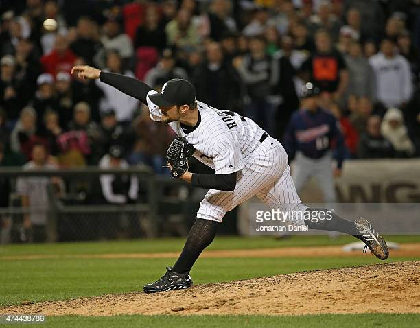 David Robertson of the Chicago White Sox pitches in the 9th inning for a save against the Minnesota Twins at US Cellular Field on May 22 2015 in...