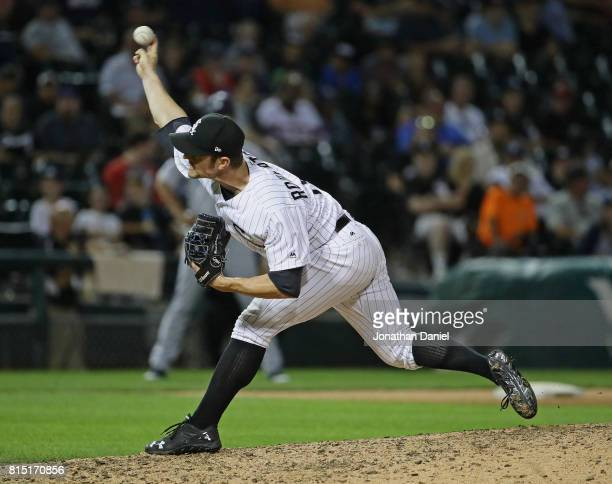 David Robertson of the Chicago White Sox pitches in the 9th inning against the Seattle Mariners at Guaranteed Rate Field on July 15 2017 in Chicago...