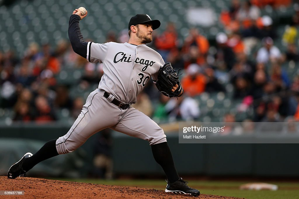 David Robertson #30 of the Chicago White Sox pitches in the ninth inning against the Baltimore Orioles at Oriole Park at Camden Yards on May 1, 2016 in Baltimore, Maryland.