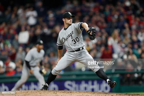 David Robertson of the Chicago White Sox pitches in the ninth inning against the Cleveland Indians at Progressive Field on April 12 2017 in Cleveland...