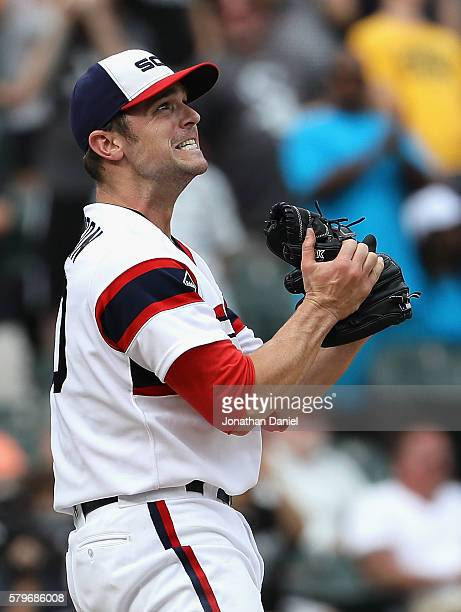 David Robertson of the Chicago White Sox reacts after giving up a second home run in the 9th inning to Tyler Collins of the Detroit Tigers at US...