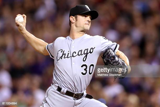 David Robertson of the Chicago White Sox throws in the ninth inning against the Colorado Rockies at Coors Field on July 8 2017 in Denver Colorado