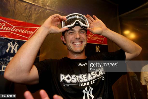 David Robertson of the New York Yankees celebrates the win over the Minnesota Twins during the American League Wild Card Game at Yankee Stadium on...