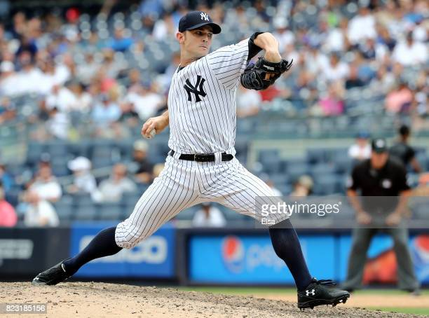 David Robertson of the New York Yankees delivers a pitch in the ninth inning against the Cincinnati Reds on July 26 2017 at Yankee Stadium in the...