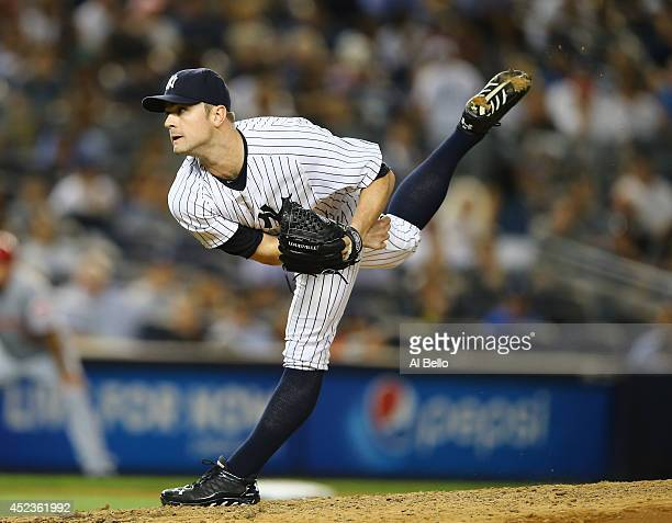 David Robertson of the New York Yankees pitches against the Cincinnati Reds in the ninth inning during their game at Yankee Stadium on July 18 2014...