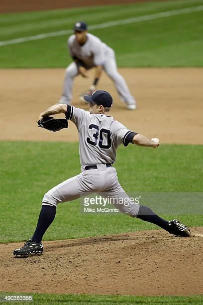 David Robertson of the New York Yankees pitches during the Interleague game against the Milwaukee Brewers at Miller Park on May 11 2014 in Milwaukee...