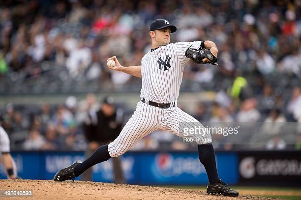 David Robertson of the New York Yankees pitches during the game against the Los Angeles Angels at Yankee Stadium on April 26 2014 in the Bronx...