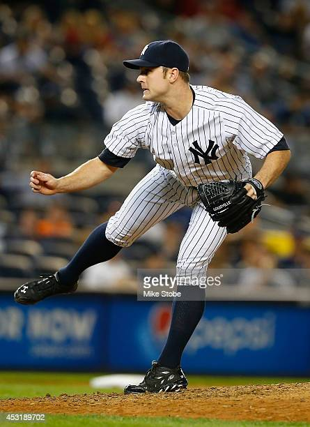 David Robertson of the New York Yankees pitches in the ninth inning against the Detroit Tigers at Yankee Stadium on August 4 2014 in the Bronx...