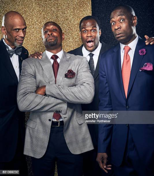 David Robinson Alonzo Mourning Kareem Abdul Jabbar and Dikembe Mutombo pose for a portrait at the NBA Awards Show on June 26 2017 at Basketball City...