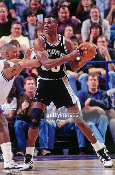David Robinson of the San Antonio Spurs posts up against the Sacramento Kings on April 6 1995 at Arco Arena in Sacramento California NOTE TO USER...