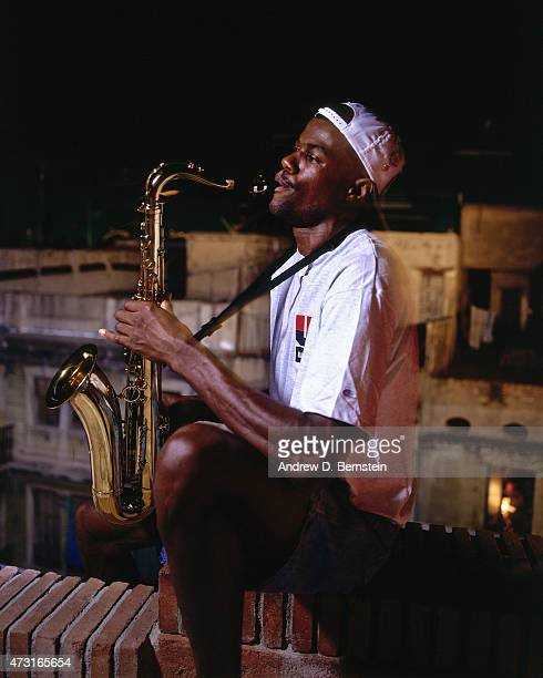 David Robinson of the US Mens Olympic Basketball Team plays the saxaphone circa 1992 during the 1992 Summer Olympics in Barcelona Spain NOTE TO USER...