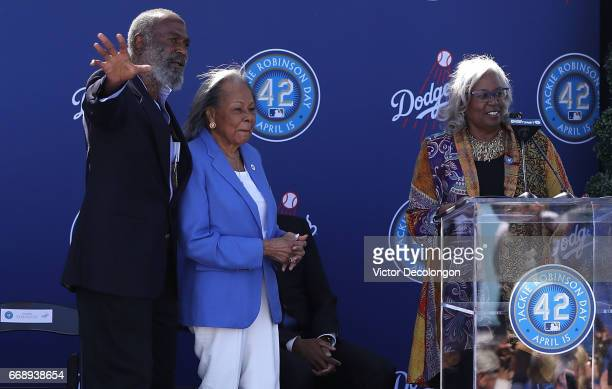 David Robinson Rachel Robinson and Sharon Robinson stand onstage to countdown the unveiling of the Jackie Robinson statue at Dodger Stadium on April...