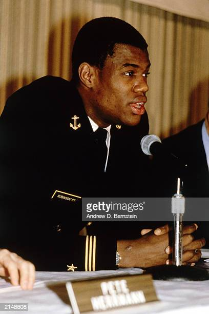 David Robinson sits dressed in his Navy uniform circa 1986 at a press conference NOTE TO USER User expressly acknowledges and agrees that by...