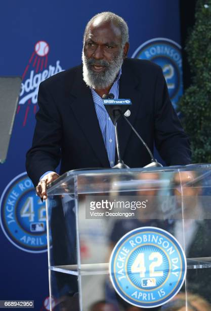 David Robinson speaks onstage during the Los Angeles Dodgers Jackie Robinson statue unveiling ceremony at Dodger Stadium on April 15 2017 in Los...
