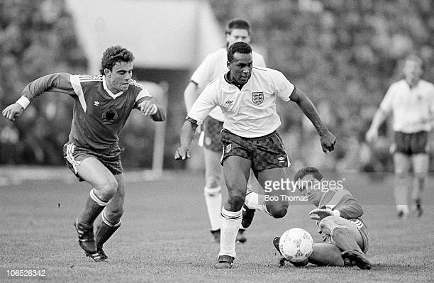 David Rocastle of England moves away from Millo and Gega during their World Cup Qualifying match held in Tirana on 8th March 1989 England beat...