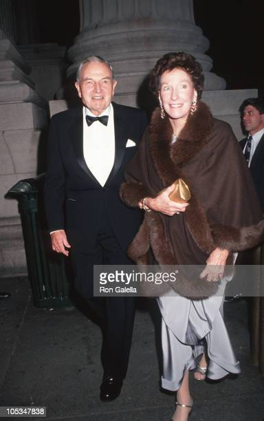 David Rockefeller and his Wife during Dinner Honoring Gianni Angelli at Metropolitan Museum of Art in New York City New York United States