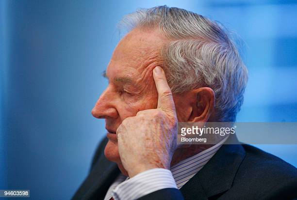 David Rockefeller former chief executive officer of the Chase Manhattan Corp listens to a question during an interview in New York on Wednesday May 9...