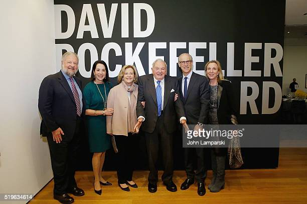 David Rockefeller Jr Maureen Hess Patti Cisneros David Rockefeller Glenn D Lowry and Susan Cohn Rockefeller attend 2016 David Rockefeller Award...