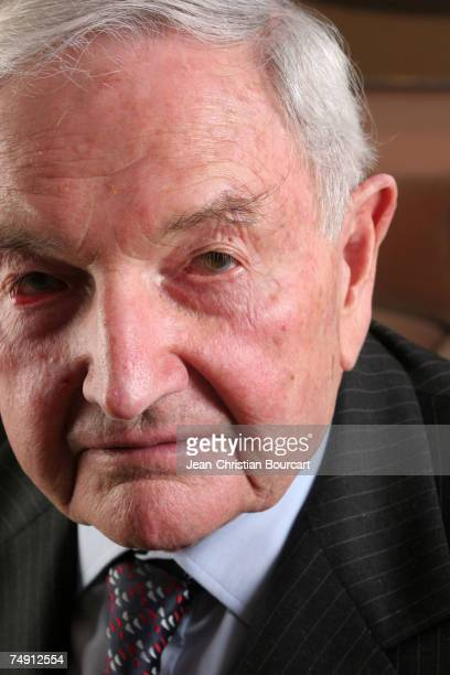 David Rockefeller poses for photo in his office in the Rockefeller building on March 14 2006 in New York City David Rockefeller is last living...