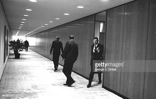 David Rockefeller Sr walks out into the hallways of the Chase Manhattan offices 1960s New York