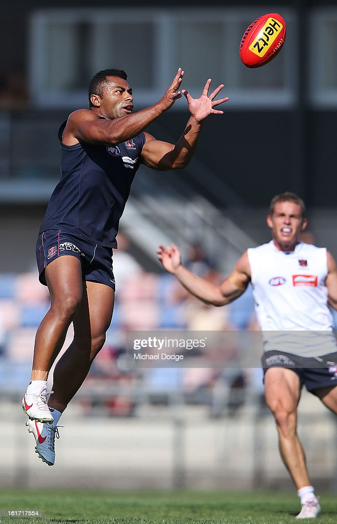 <a gi-track='captionPersonalityLinkClicked' href=/galleries/search?phrase=David+Rodan&family=editorial&specificpeople=240461 ng-click='$event.stopPropagation()'>David Rodan</a> marks the ball during a Melbourne Demons intra-club match session at Casey Fields on February 15, 2013 in Melbourne, Australia.