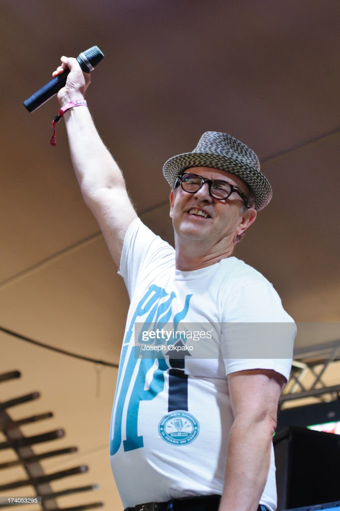 David Rodigan MBE performs on Day 1 of the Lovebox festival at Victoria Park on July 19, 2013 in London, England.