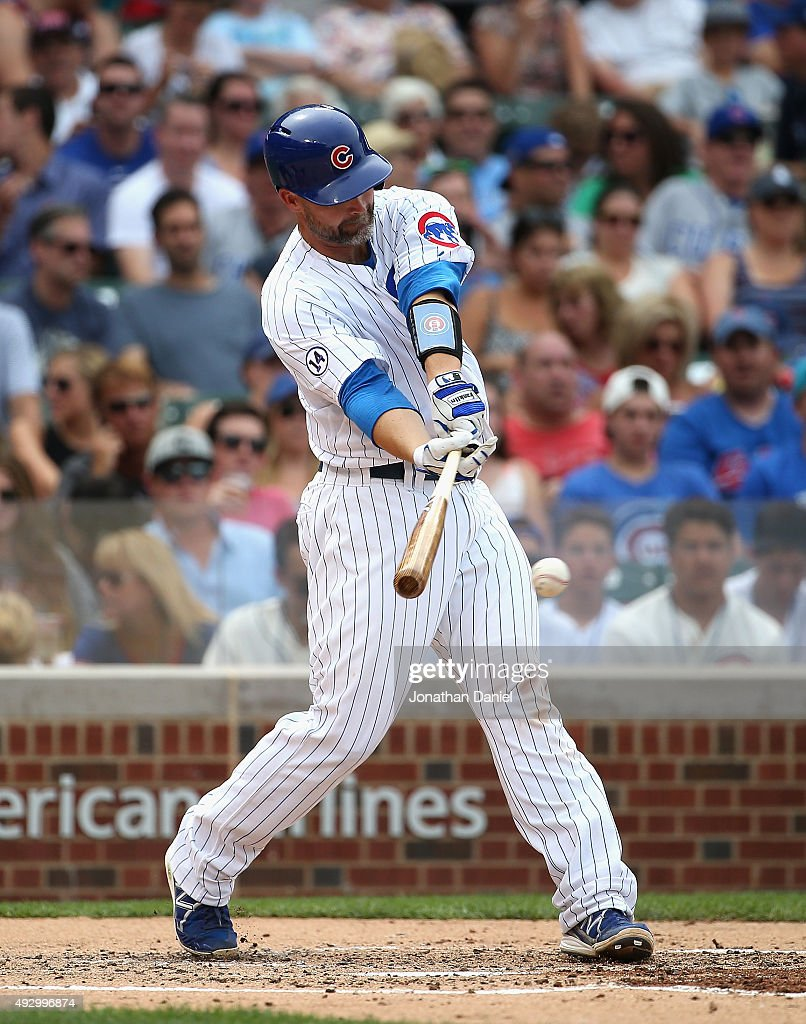 <a gi-track='captionPersonalityLinkClicked' href=/galleries/search?phrase=David+Ross&family=editorial&specificpeople=210843 ng-click='$event.stopPropagation()'>David Ross</a> #3 of the Chicago Cubs bats against the Philadelphia Phillies at Wrigley Field on July 24, 2015 in Chicago, Illinois. The Phillies defeated the Cubs 5-3 in 10 innings.