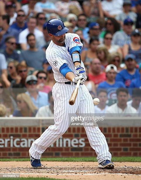 David Ross of the Chicago Cubs bats against the Philadelphia Phillies at Wrigley Field on July 24 2015 in Chicago Illinois The Phillies defeated the...