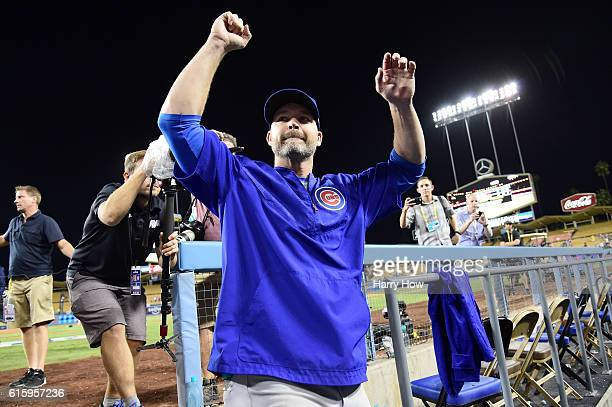 David Ross of the Chicago Cubs celebrates after the Chicago Cubs win 84 against the Los Angeles Dodgers in game five of the National League Division...