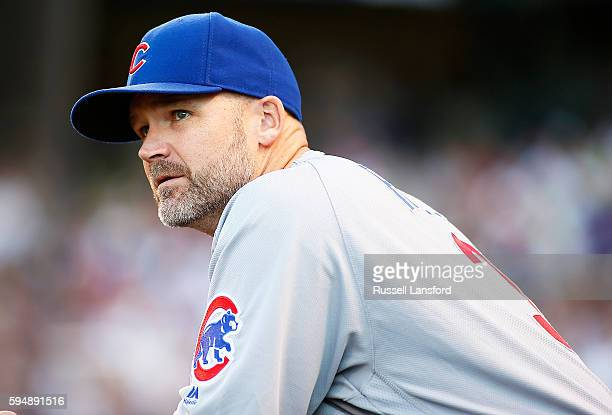 David Ross of the Chicago Cubs during a regular season MLB game at Coors Field on August 20 2016 in Denver Colorado