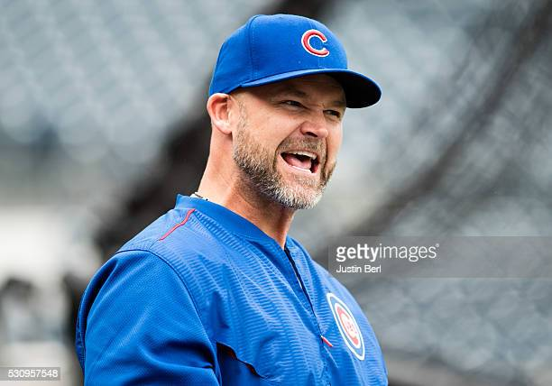 David Ross of the Chicago Cubs during batting practice before the game against the Pittsburgh Pirates at PNC Park on May 2 2016 in Pittsburgh...