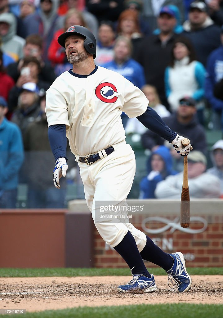 <a gi-track='captionPersonalityLinkClicked' href=/galleries/search?phrase=David+Ross&family=editorial&specificpeople=210843 ng-click='$event.stopPropagation()'>David Ross</a> #3 of the Chicago Cubs gets the game winning hits a, a single in the iith inning against the Kansas City Royals at Wrigley Field on May 31, 2015 in Chicago, Illinois. The Cubs defeated the Royals 2-1 in 11 innings.