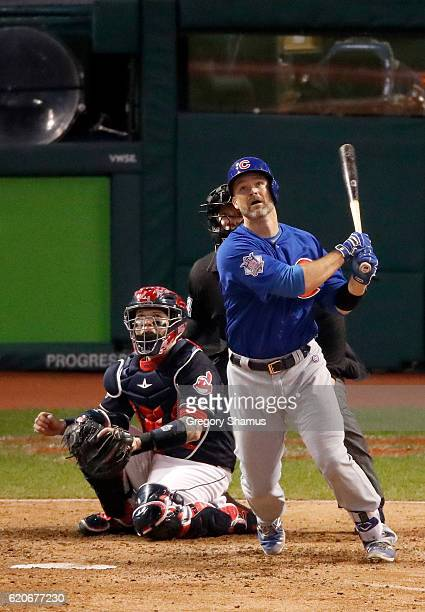 David Ross of the Chicago Cubs hits a solo home run during the sixth inning against the Cleveland Indians in Game Seven of the 2016 World Series at...