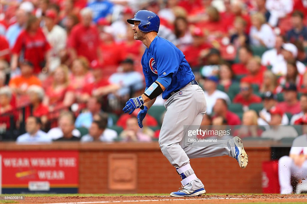 <a gi-track='captionPersonalityLinkClicked' href=/galleries/search?phrase=David+Ross&family=editorial&specificpeople=210843 ng-click='$event.stopPropagation()'>David Ross</a> #3 of the Chicago Cubs hits a two-RBI double against the St. Louis Cardinals in the first inning at Busch Stadium on May 24, 2016 in St. Louis, Missouri.