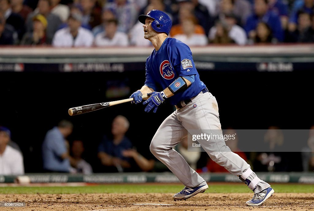 David Ross #3 of the Chicago Cubs reacts after hitting a solo home run during the sixth inning against the Cleveland Indians in Game Seven of the 2016 World Series at Progressive Field on November 2, 2016 in Cleveland, Ohio.
