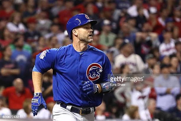 David Ross of the Chicago Cubs runs after hitting a solo home run during the sixth inning against the Cleveland Indians in Game Seven of the 2016...