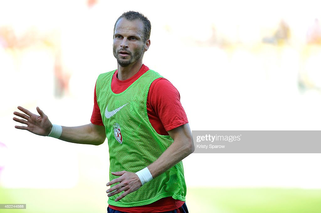 <a gi-track='captionPersonalityLinkClicked' href=/galleries/search?phrase=David+Rozehnal&family=editorial&specificpeople=546591 ng-click='$event.stopPropagation()'>David Rozehnal</a> of LOSC in action before the practice match between LOSC vs. KV Courtrai at Stade de l'Epopee on July 16, 2014 in Calais, France.