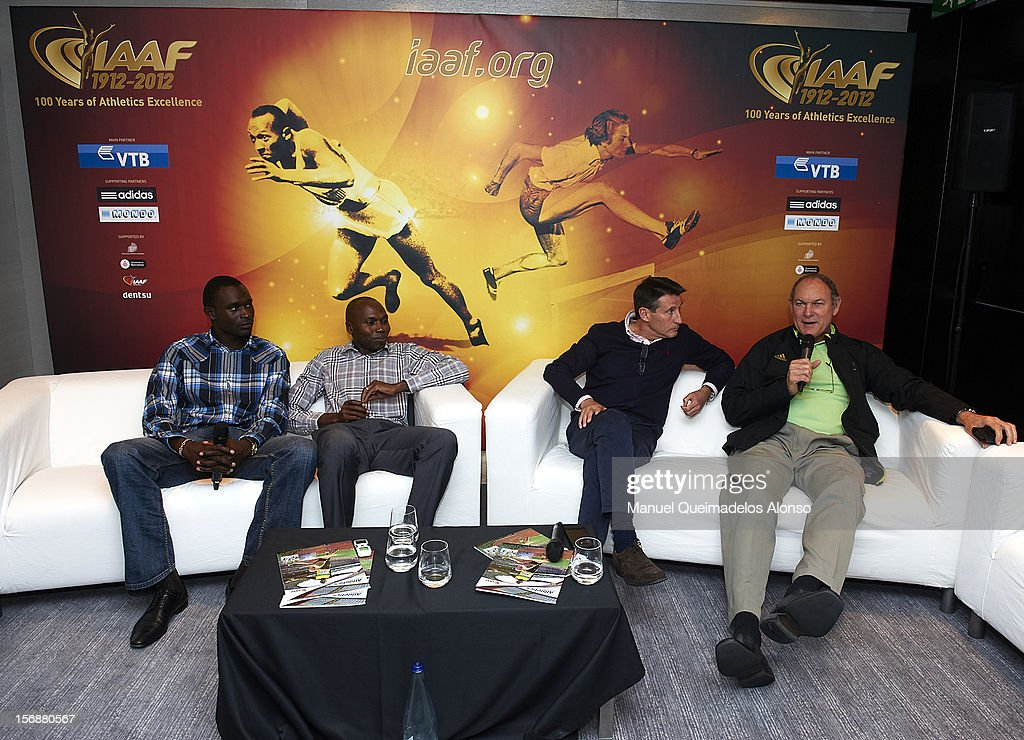 David Rudisha of Kenya, Wilson Kipketer of Denmark, Sebastian Coe of Great Britain and Alberto Juantorena of Cuba in press conference during the preview day of the IAAF athlete of the year award at the IAAF Centenary Gala on November 23, 2012 in Barcelona, Spain.